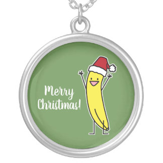 Banana Santa hat cheering Christmas holiday Silver Plated Necklace