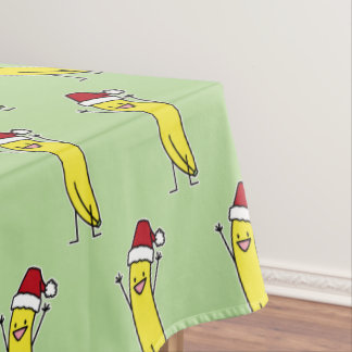 Banana Santa hat cheering Christmas holiday Tablecloth