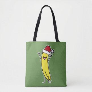 Banana Santa hat cheering Christmas holiday Tote Bag