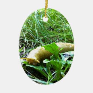 Banana Slug Ceramic Oval Ornament