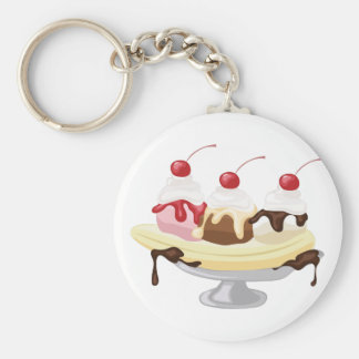 Banana Split Basic Round Button Keychain