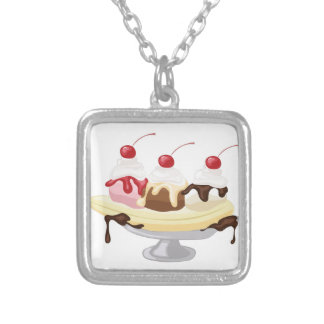 Banana Split Silver Plated Necklace