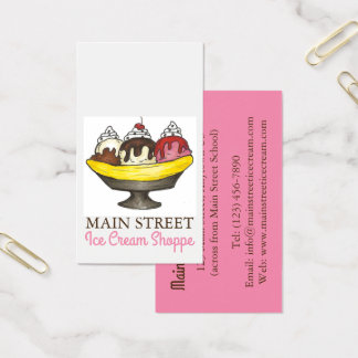 Banana Split Sundae Ice Cream Shoppe Shop Food Business Card