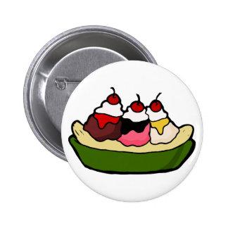 Banana Split Sweet Ice Cream Treat Button