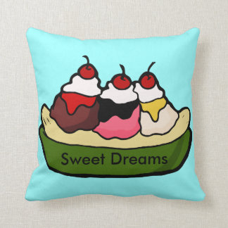 Banana Split Sweet Ice Cream Treat Throw Pillow
