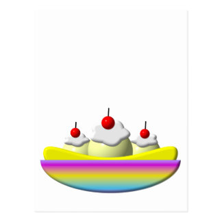 Banana Split with whipped cream and cherries Postcard