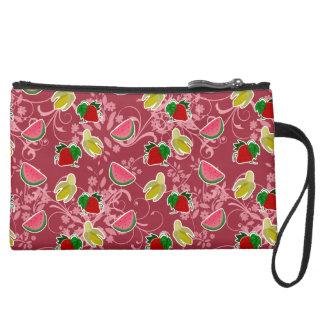 Banana Strawberry Watermelon Pattern Wristlet Purse
