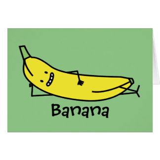 Banana that's smiling, laying down and relaxing card