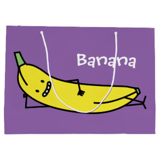 Banana that's smiling, laying down and relaxing large gift bag
