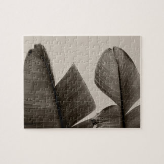 Banana Tree Leaves in Sepia Jigsaw Puzzle