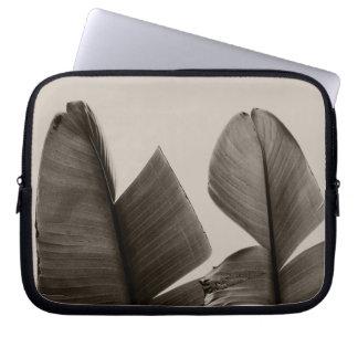 Banana Tree Leaves in Sepia Laptop Sleeve