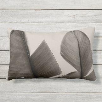 Banana Tree Leaves in Sepia Lumbar Pillow