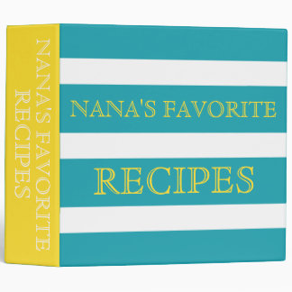 Banana Yellow and Ocean Blue Stripe Monogram 3 Ring Binder