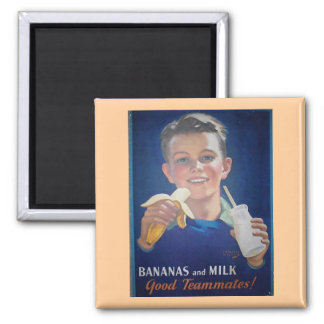 Bananas and Milk Square Magnet