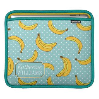 Bananas And Polk Dots | Add Your Name iPad Sleeves