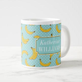 Bananas And Polk Dots | Add Your Name Large Coffee Mug