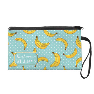 Bananas And Polk Dots | Add Your Name Wristlet Clutches