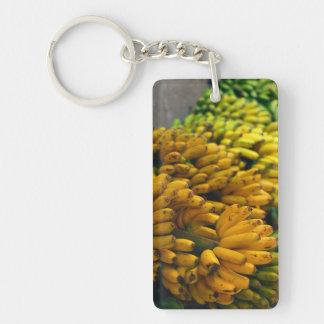 Bananas at night Double-Sided rectangular acrylic keychain