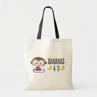 Bananas For You - Monkey Holding Heart Tote Bag
