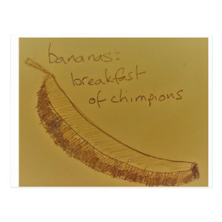 Bananas the breakfast of chimpions postcard