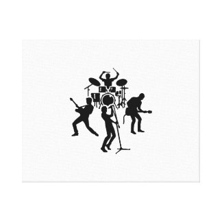 Band drummer guitarist singer stretched canvas prints
