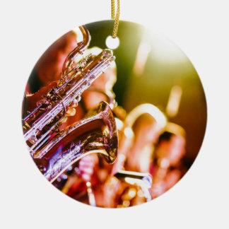 Band Music Musical Instruments Saxophones Horns Ceramic Ornament