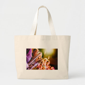 Band Music Musical Instruments Saxophones Horns Large Tote Bag