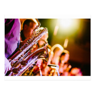 Band Music Musical Instruments Saxophones Horns Postcard