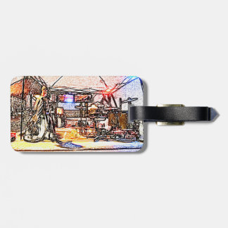 band on stage colored pencil music themed design luggage tag