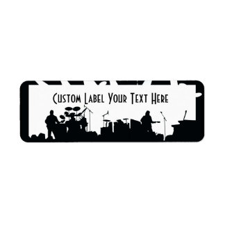 Band On Stage Concert Silhouette B&W Return Address Label