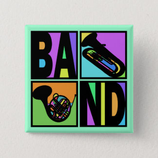 BAND POP ART SQUARES 2 INCH SQUARE BUTTON