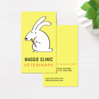 Bandaged bunny veterinary Clinic yellow background Business Card