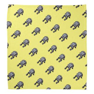 Bandana black lab puppy pattern yellow background