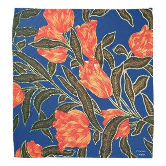 "Bandana bleu ""de tulipes oranges"""