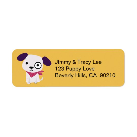 Bandana Doggy, Address Labels, yellow Return Address Label