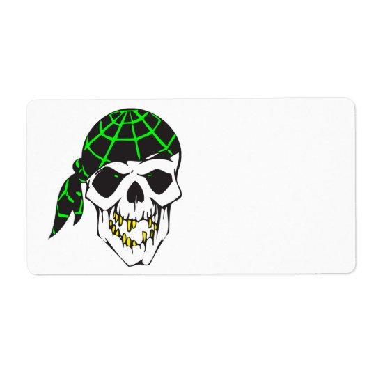 bandana evil skull shipping label