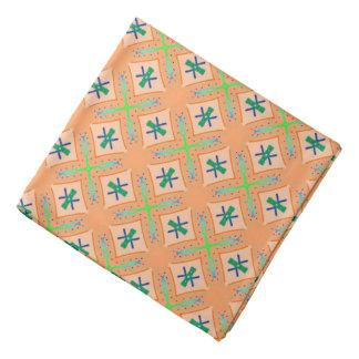 Bandana Jimette blue and green Design on orange
