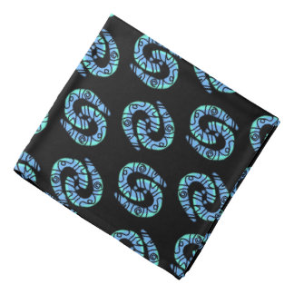 Bandana Jimette blue Design on black