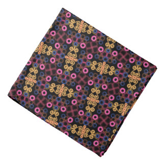 Bandana Jimette blue pink orange Design on black