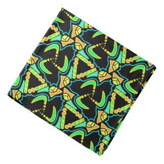 Bandana Jimette blue yellow green Design on black