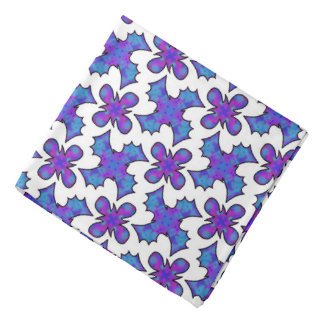 Bandana Jimette Design blue and mauve on white