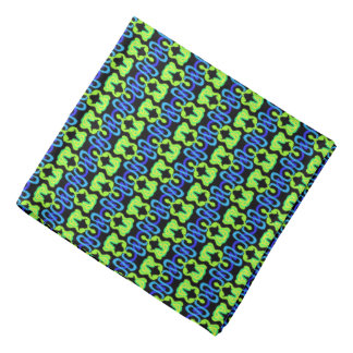 Bandana Jimette green and blue Design on black