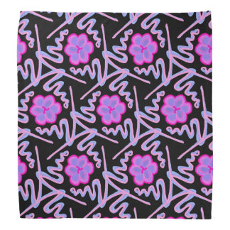 Bandana Jimette Pink Design and blue on black