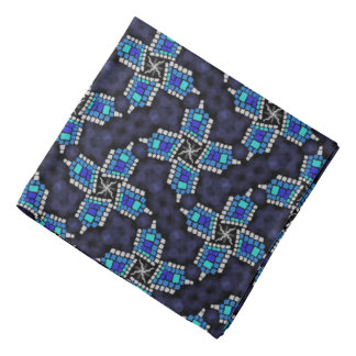 Bandana Jimette white blue Design on black