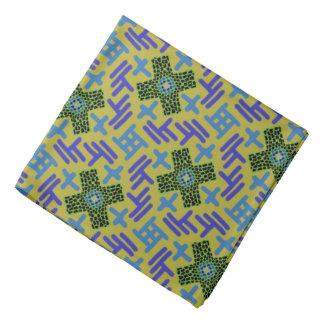 Bandana mauve Jimette blue Design on yellow