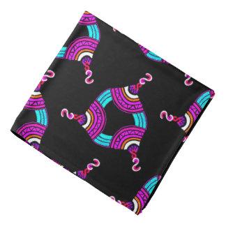 Bandana mauve Jimette blue pink Design on black