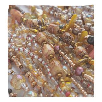 Bandana- Natural Earthtones, Bronze Beads Print Bandana