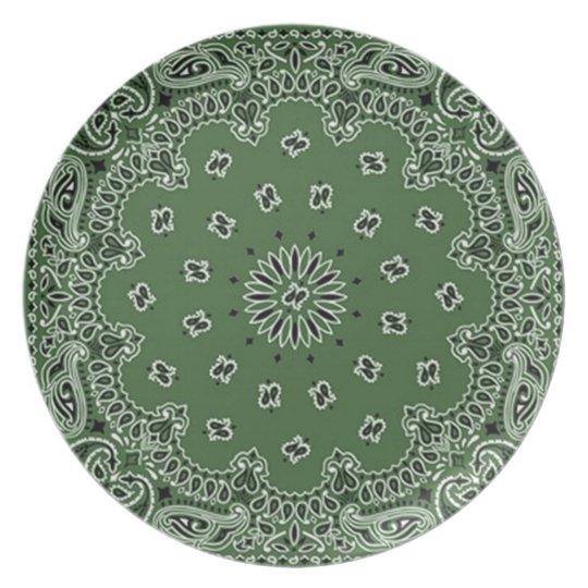Bandana Print Melamine Plate Green