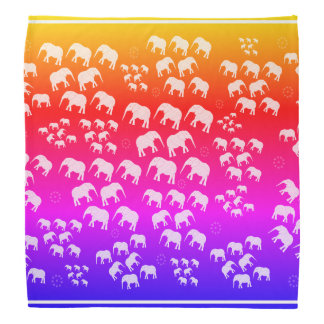Bandana purple blue orange yellow elephants