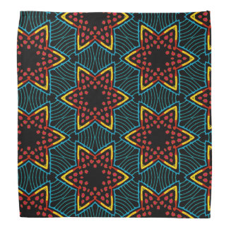 Bandana red Jimette orange blue Design on black